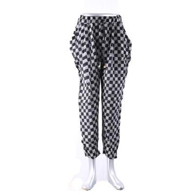 New ninth pants Haren pants cotton casual pants women's black and white pattern pants