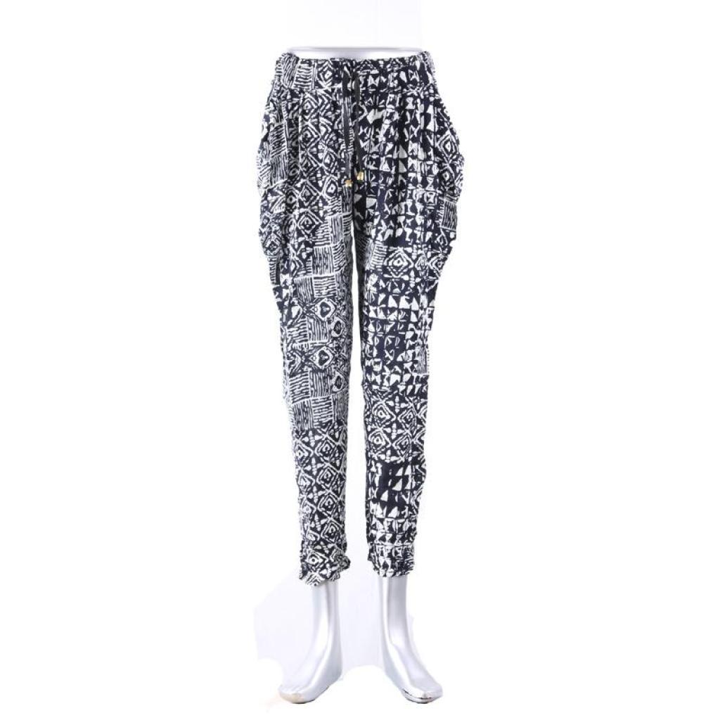 新款九分裤 哈伦裤 棉质休闲裤 黑白花纹女裤