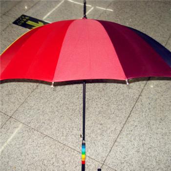韩版长柄自动超强抗风14色晴雨防晒彩虹伞公主伞