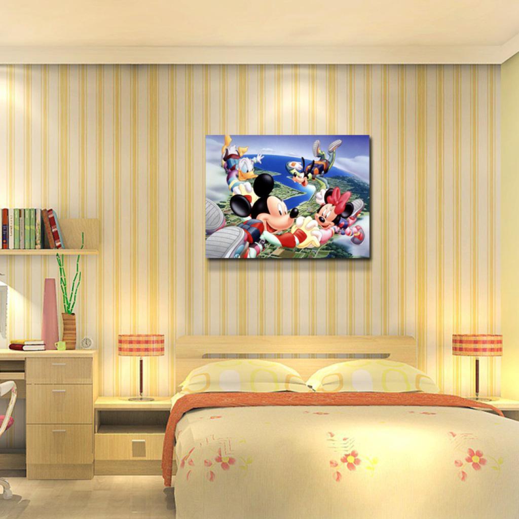 欧式装饰画卧室写字台无框画油画人物童趣卡通