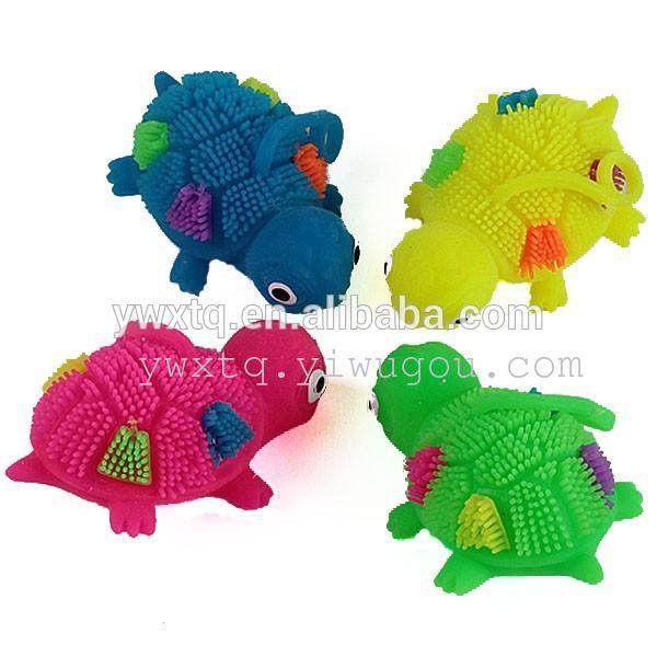 闪光乌龟毛毛球 动物发光毛毛球 闪光玩具  TPR玩具