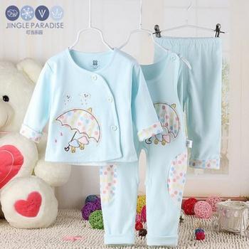 Autumn park baby clothes coat jingle spring suit three pieces of cotton