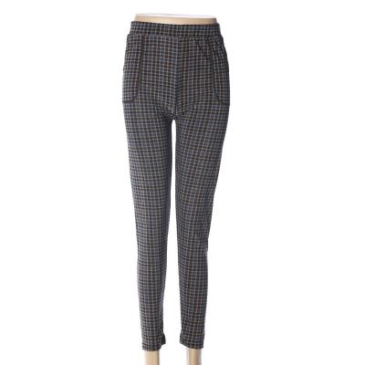 Polyester gridding stripe ninth pants  polyester women's high-waisted leggings mothers' pants
