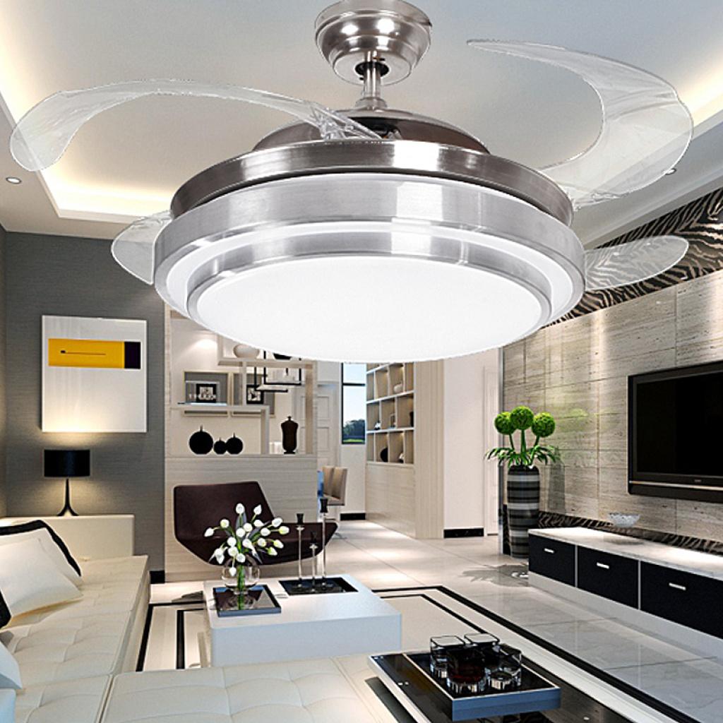 led隐形吊扇灯欧式客厅餐厅卧室风扇灯收缩变光电