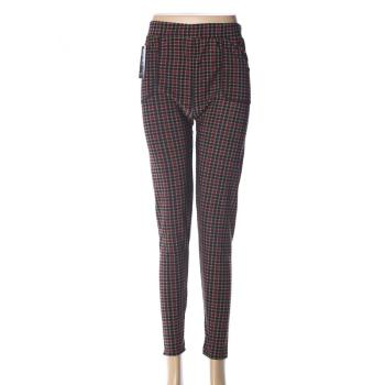 Polyester gridding ninth leggings  women's high-waisted pants mothers' pants