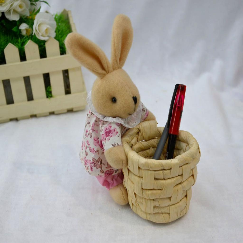 外贸原单玉米皮编收纳筐 创意环保卡通兔草编笔筒