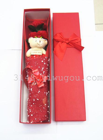 视频皂花蝴蝶结手工创意七夕情人节礼盒小熊训牛礼物图片