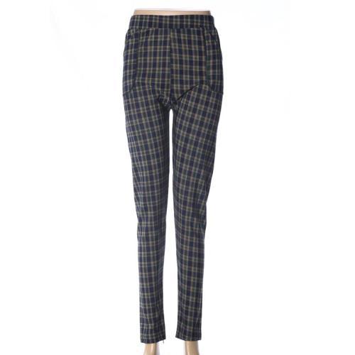 Ninth Polyester gridding leggings women's polyester high waist pants  mothers' pants