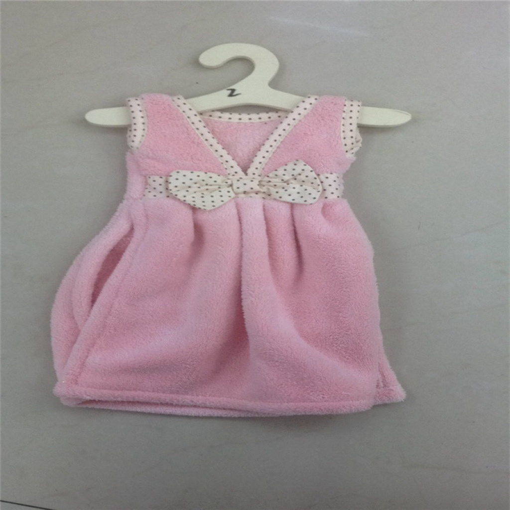 韩式小裙子擦手巾珊瑚绒挂式擦手布毛巾