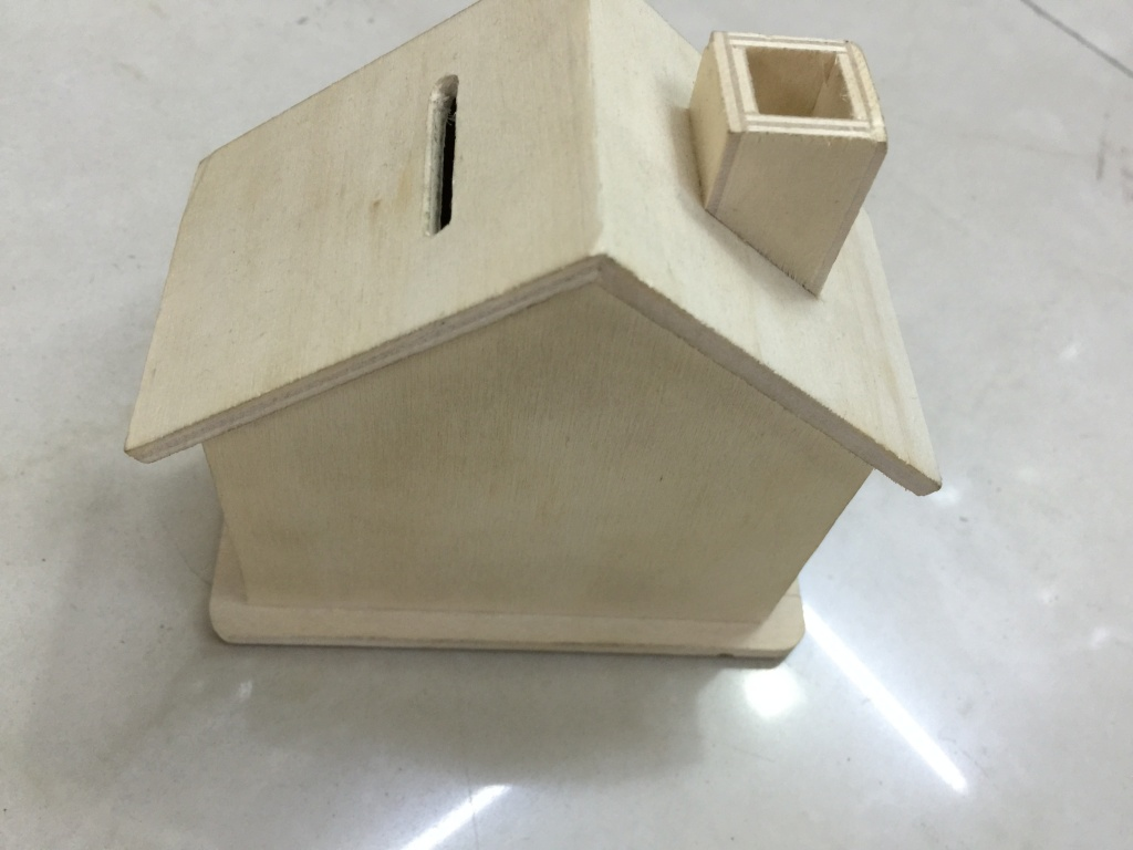 木制diy手工屋形存钱罐小房子