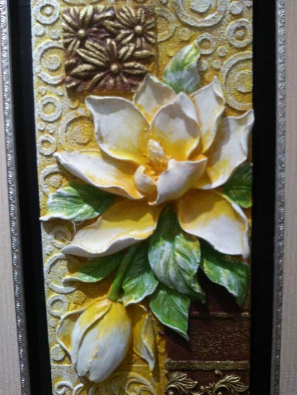 玄关装饰画3d立体挂画浮雕画竖版过道单幅画现代简约壁画-莲花