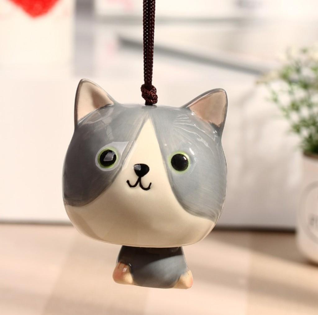 卡通双节猫风铃 创意礼品批发 精美动物陶瓷工艺品 厂价批发