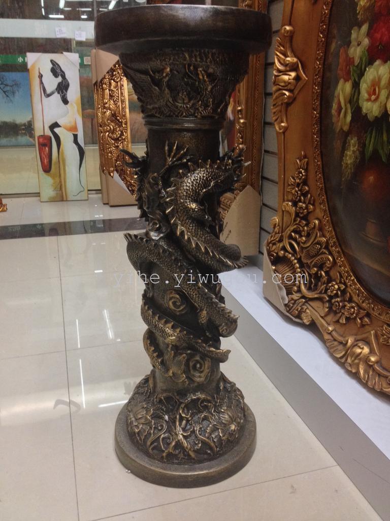 树脂天使|金色立体罗马柱|欧式酒店别墅树脂|73x26cm
