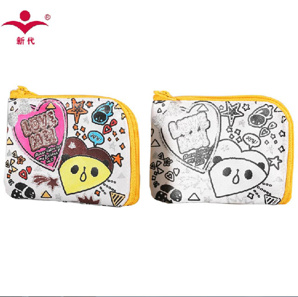 新代小学生零钱包创意diy彩绘涂鸦儿童拉链卡通可爱