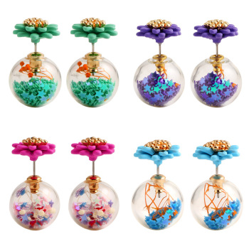 fashion candy color pearl earrings earrings double-sided transparent flowers creative accessories wholesale