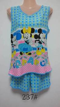 Summer milk silk girl vest shorts cartoon printed two sets of pajamas home service