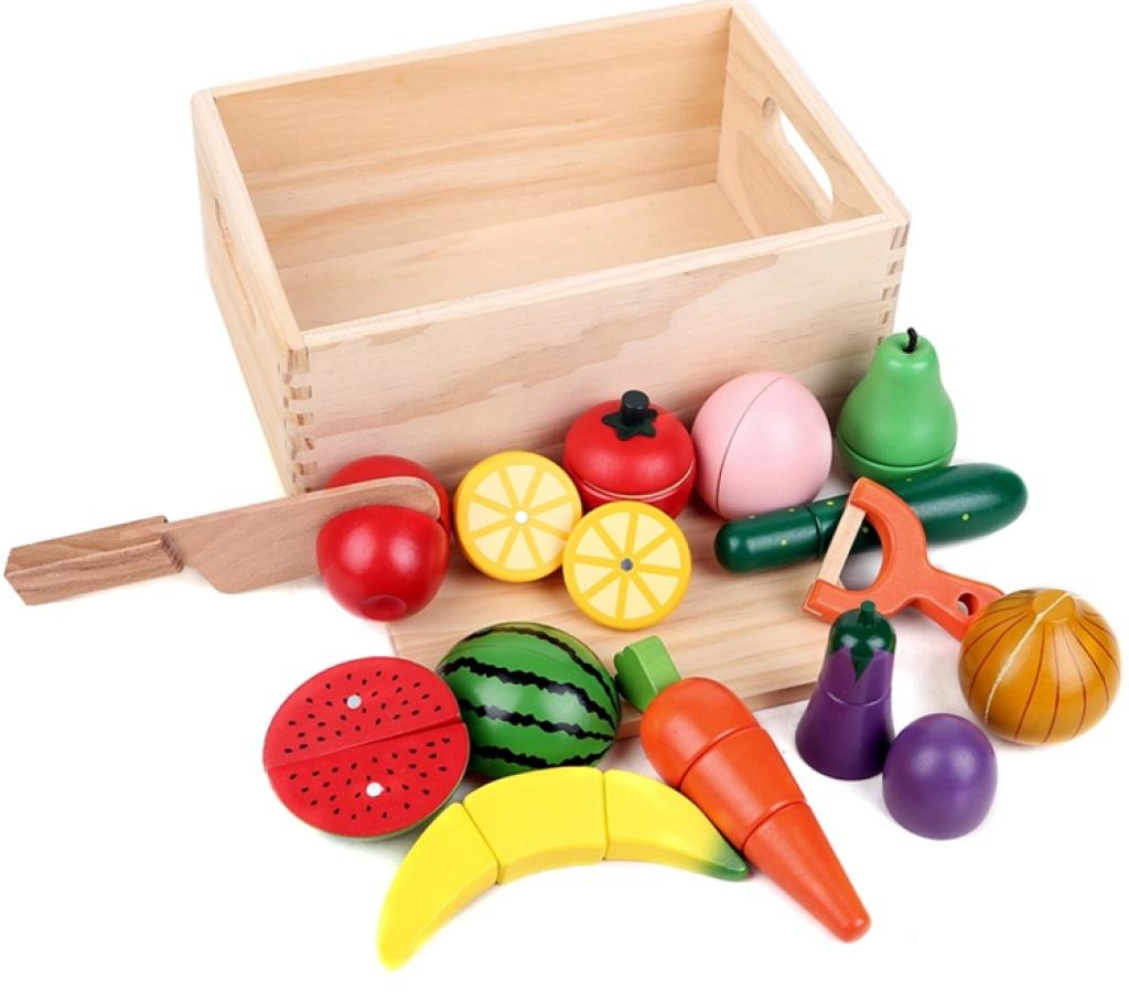 水果拼切玩具 蔬菜餐具 儿童 木制过家家