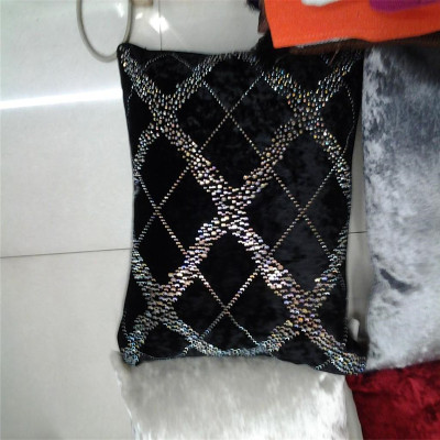 Rhinestones 2014 new velvet faux silk cloth sequined cushions embroidered linen cushions pillows auto cushion