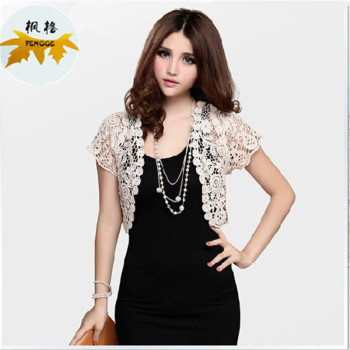 All-match short sleeved Lace Shawl sweater vest cut short cardigan