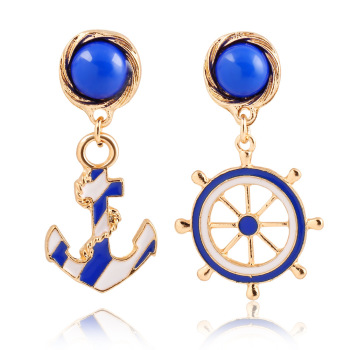 exaggerated personality and the wind brand fashion texture of blue and white navy anchor ear stud earrings