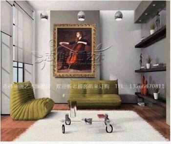 手绘人物油画客厅书房玄关美女挂画壁画别墅酒店装饰
