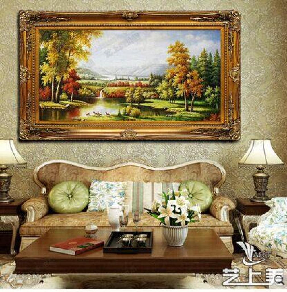 纯手绘欧式有框油画客厅玄关古典山水风景装饰画中
