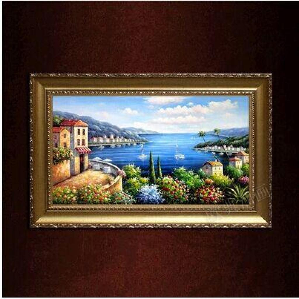 手工欧式风景画现代玄关挂画过道壁画手绘油画客厅装饰画横