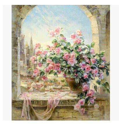 客厅风景花卉情侣手绘画