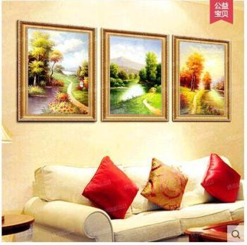 四季山水纯手绘欧式三联幅四联装饰画客厅沙发背景墙