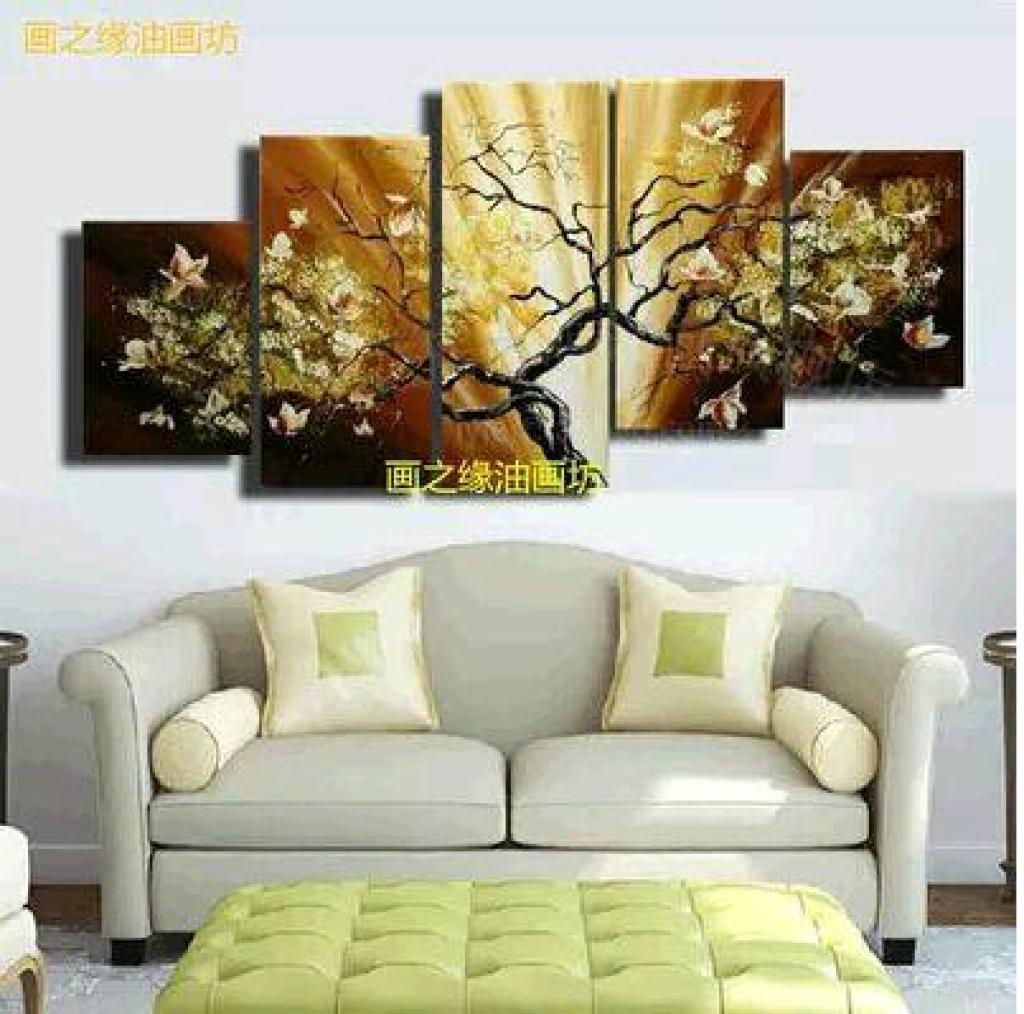 欧式油画客厅装饰画沙发背景墙五联画吉祥树挂画无框画纯手绘壁画图片