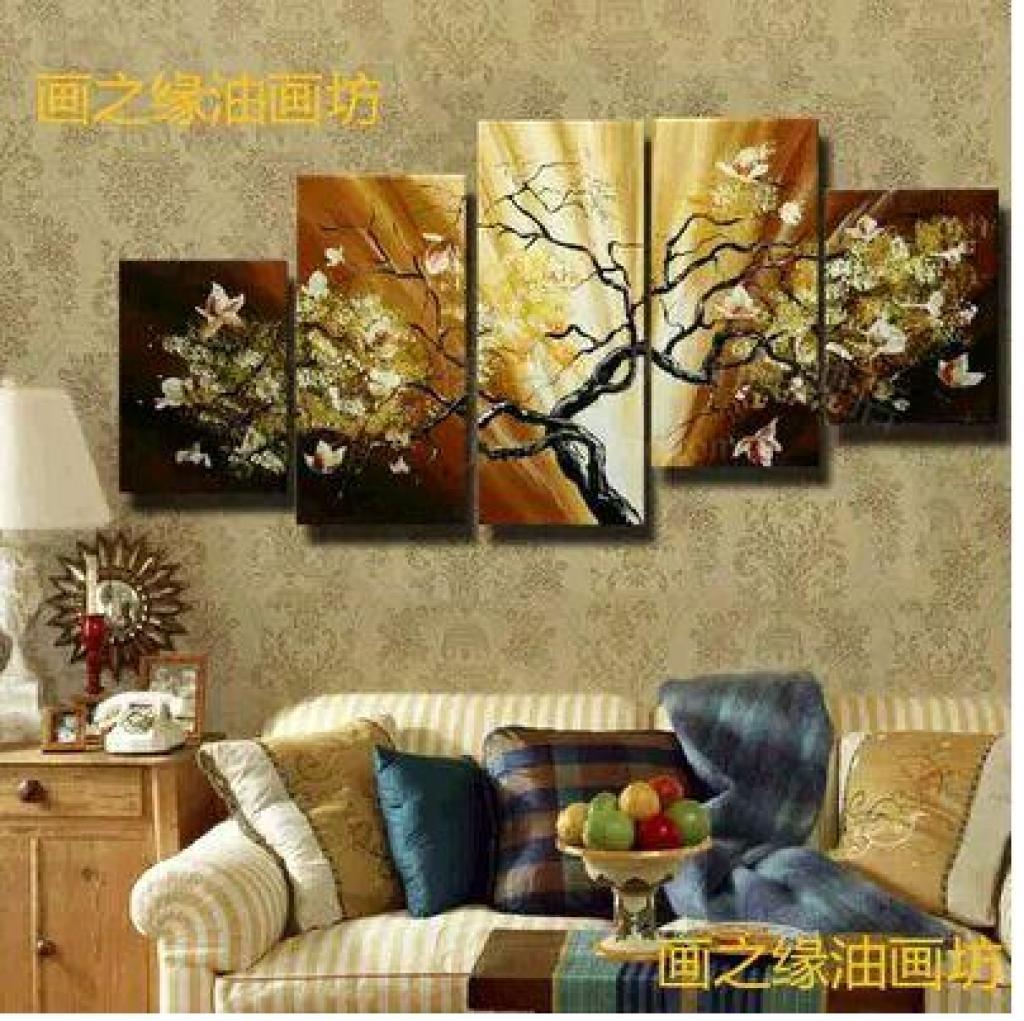 欧式油画客厅装饰画沙发背景墙五联画吉祥树挂画无框画纯手绘壁画