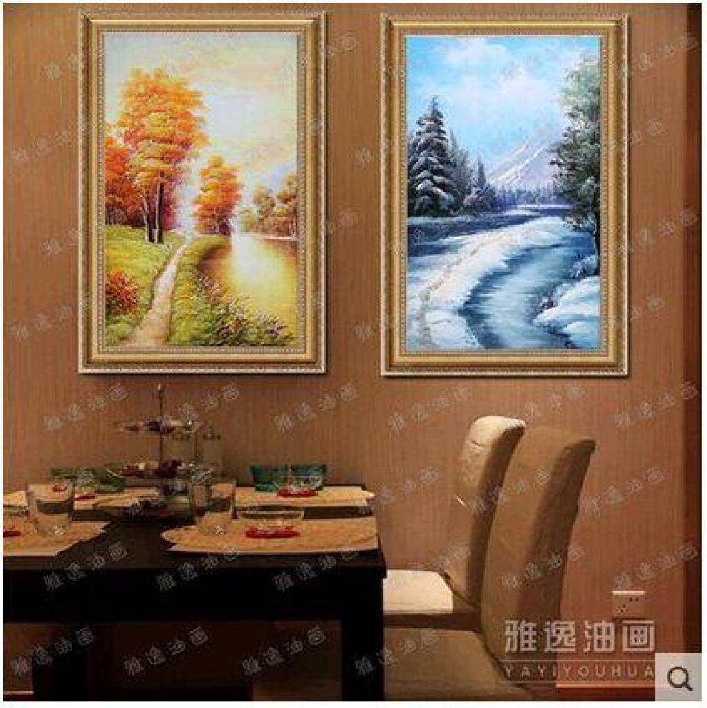 有框三联餐厅玄关走廊挂画欧式风景壁画