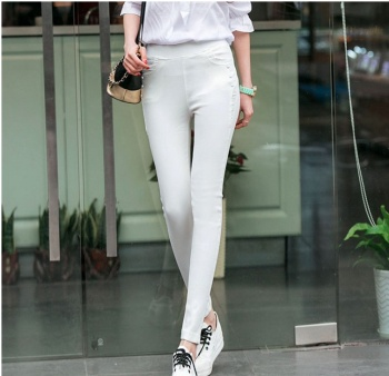 The new women's fashion pencil pants all-match lace stitching twill woven elastic pants