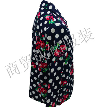 Increase in fat old lady spring jacket lapel button cardigan