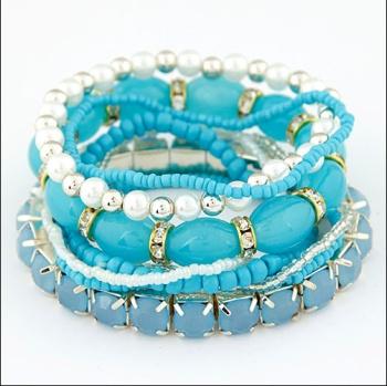 Jade glass beads mixed claw chain stretch Bracelet