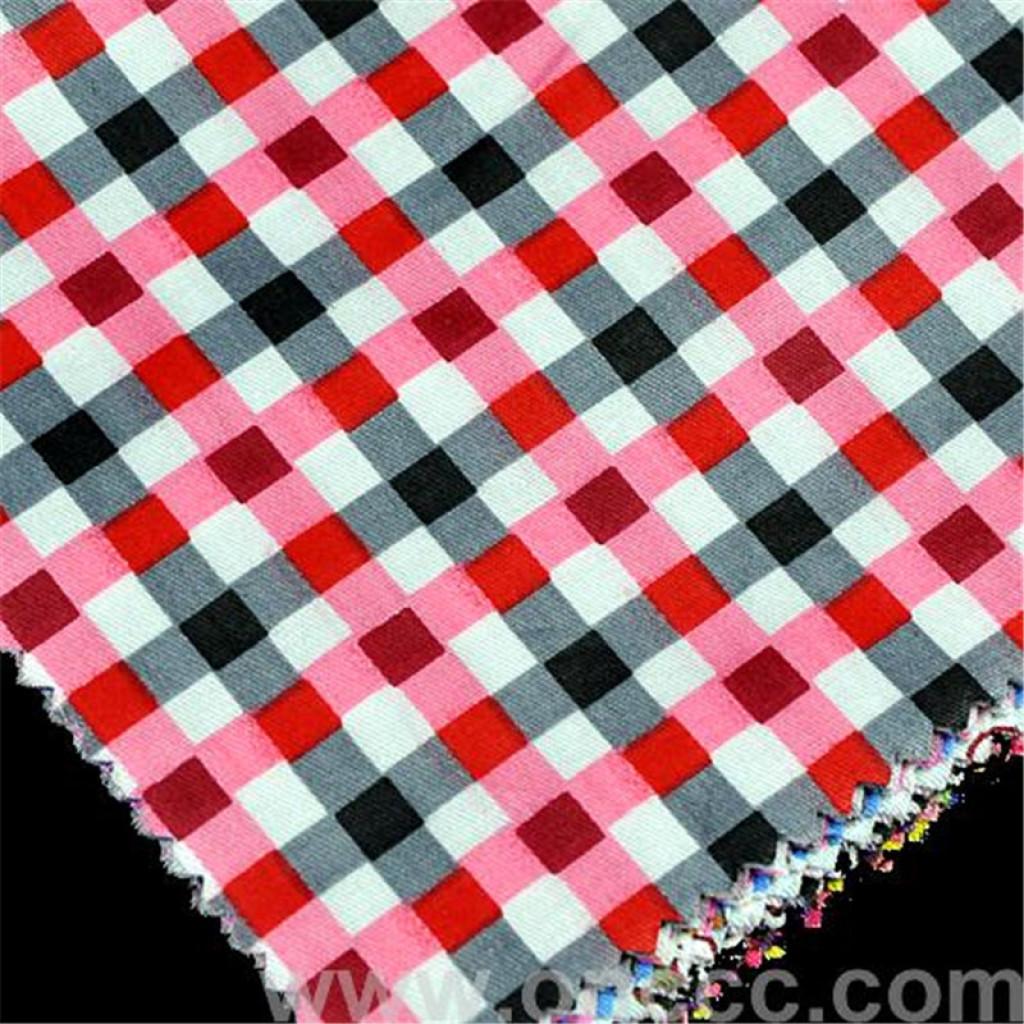 红黑涤棉色织格子布 diy面料 时尚好搭配