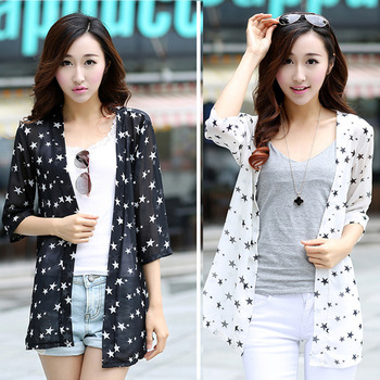 Long Chiffon stars sunscreen sunscreen shirt half sleeve shirt dress shawl cardigan female air conditioning