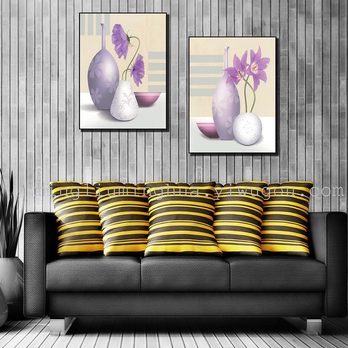 欧式花卉风格墙体装饰向日葵喷绘二拼沙发背景墙_名流