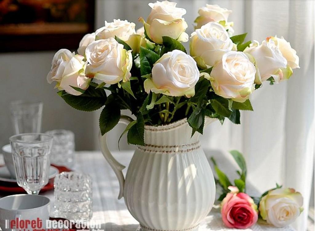 欧式高仿真玫瑰花客厅仿真花玫瑰假花餐桌插花