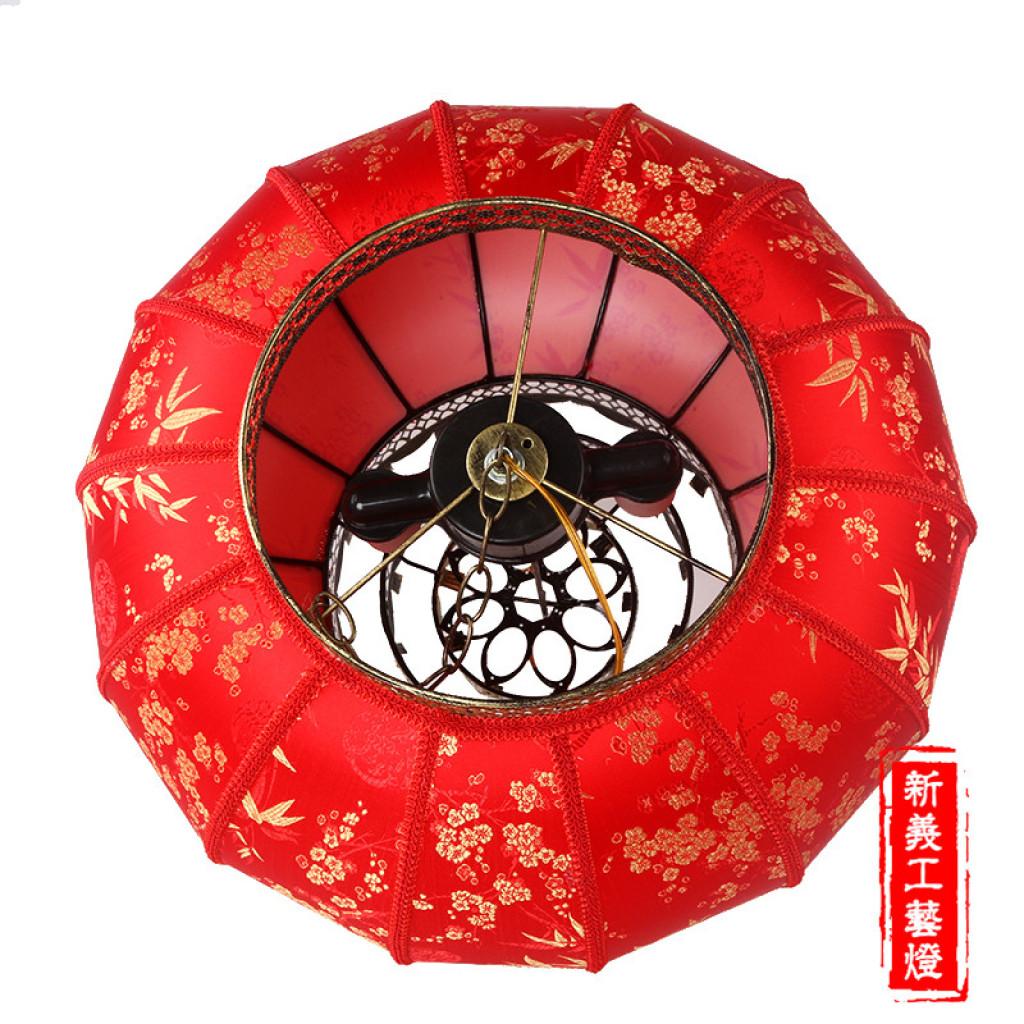 圆灯笼金片竹叶仿羊皮灯笼春节婚庆户外室内大红灯笼
