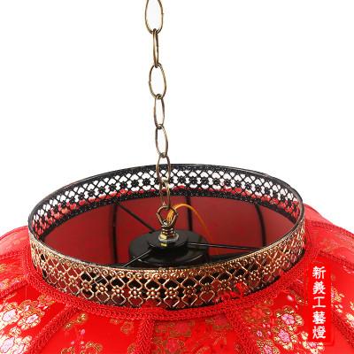 Antique Chinese style sheepskin lantern festival decoration waterproof red lanterns round M