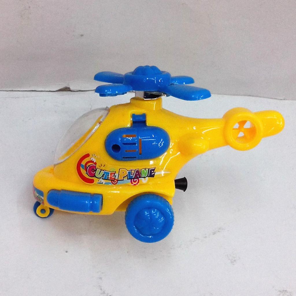 袋装儿童益智玩具拉线卡通直升飞机带灯光 赠品玩具