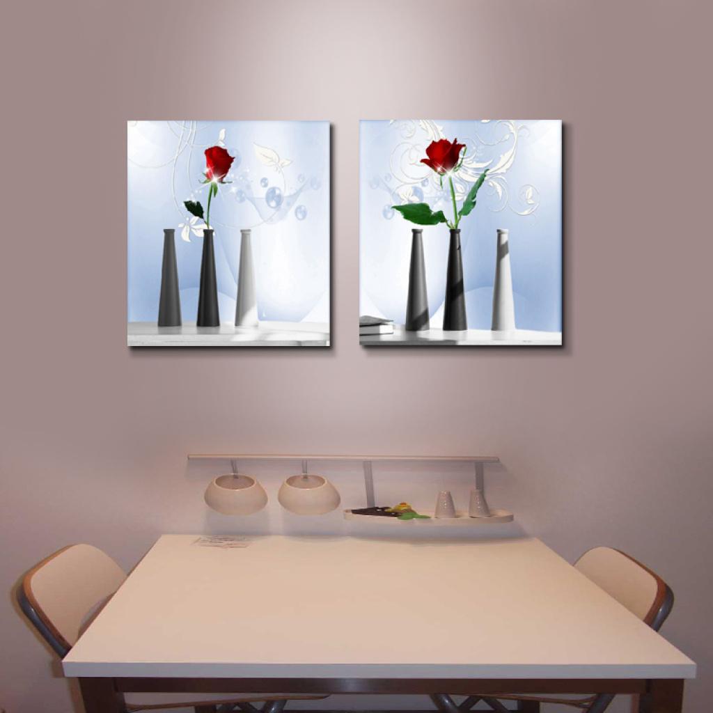 欧廊装饰画餐厅无框画餐桌背景墙壁挂画静物花卉