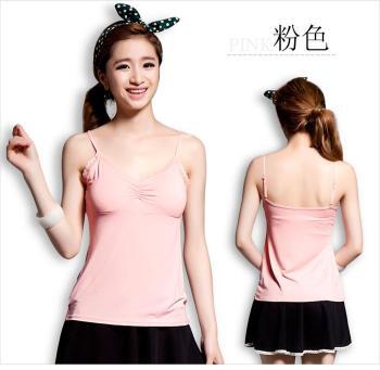 Korean Lady love Fox chest pad backing Halter Bras one vest women's Bra-free t