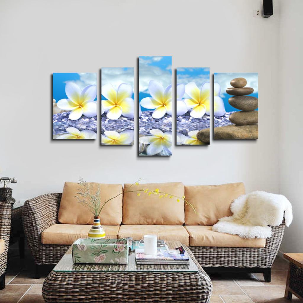 客厅壁挂画_欧廊装饰画现代客厅餐厅五拼壁挂油画花卉