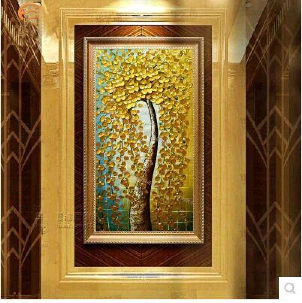 油画走廊玄关装饰画竖版挂画欧式无框画发财树幸福树