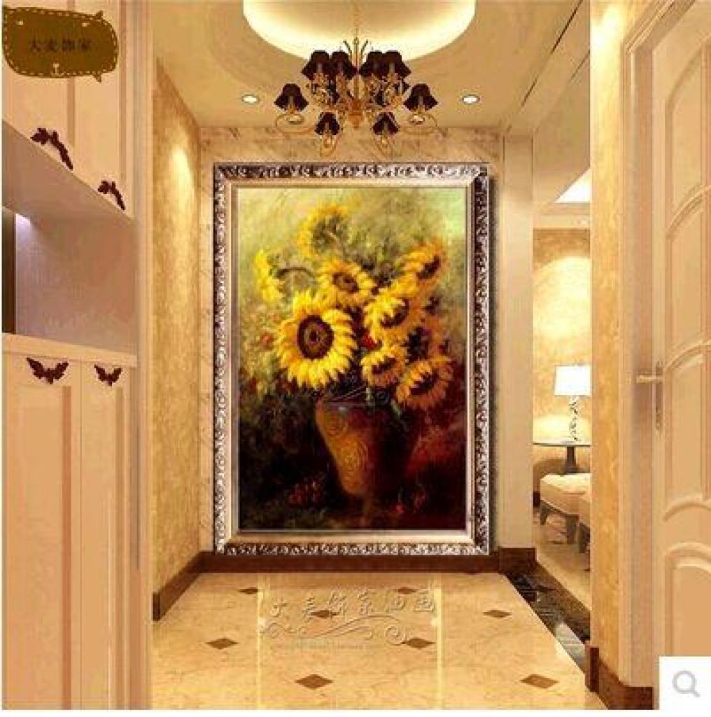 欧式花卉向日葵油画客厅餐厅玄关走廊过道竖版挂画