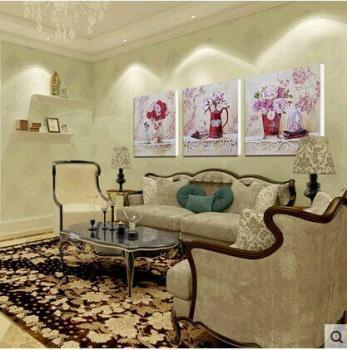 欧式油画花瓶简约无框画饭厅壁画卧室挂画沙发背景墙画客厅装饰画