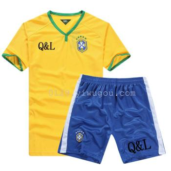 The Brazil football team sportswear suit match fitness wear short sleeved shorts training clothes