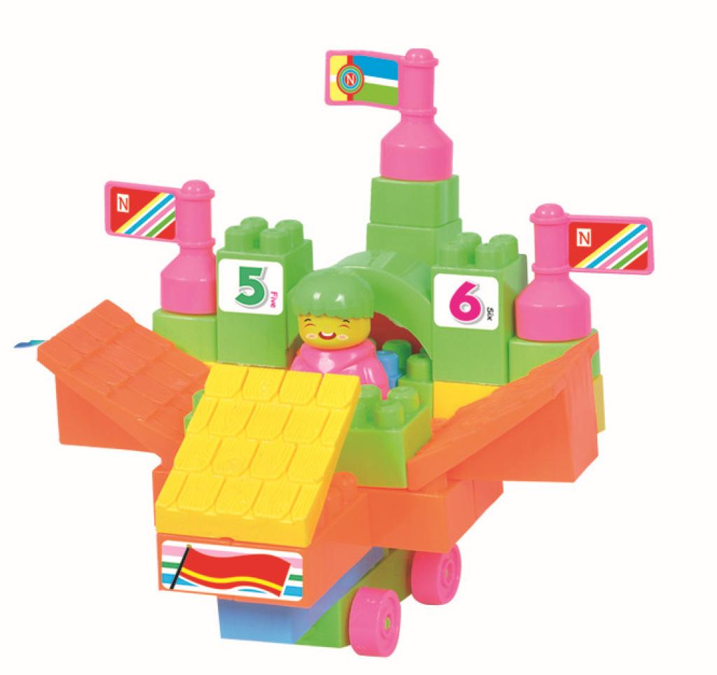 益智玩具78粒背包積木拼搭房子建筑積木